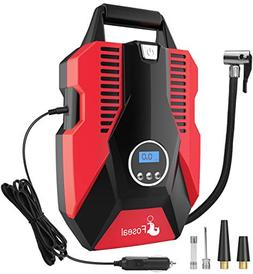 Foseal 1 Red Portable Air Compressor Pump, Digital 12V Tire