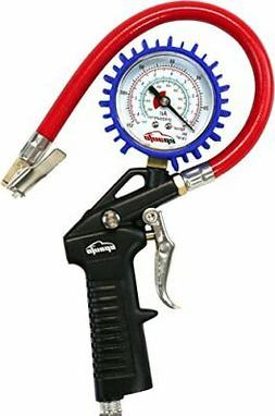EPAuto Heavy Duty 120 PSI Tire Inflator Gauge with Hose and