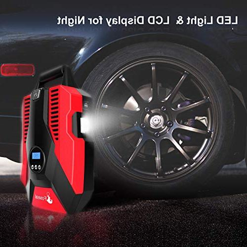 Foseal 1 Portable Air Compressor 12V PSI Auto Shutoff to Use,Overheat Protection,Fast, Noisy Motorcycle Basketball