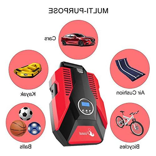 Foseal 1 Red Air Compressor Digital 12V 150 to Protection,Fast, Noisy for Motorcycle