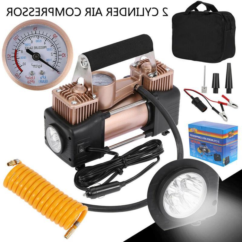 12V 150PSI Double Cylinder Air Pump Compressor Heavy Duty Ca