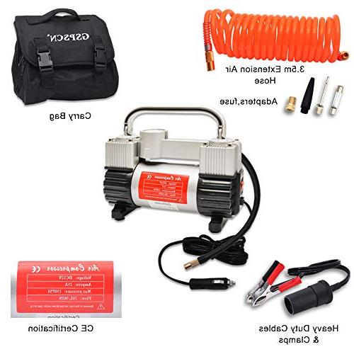 GSPSCN Tire Duty Portable Bag 12V Air Pump with PSI Car, SUV Bed