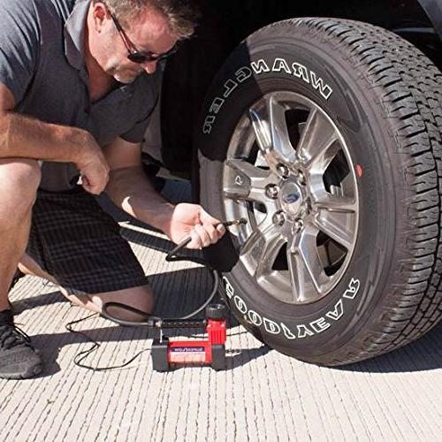 SuperFlow Portable Tire Inflator PSI, 12v compressor for Cars, Trucks, and Bikes.
